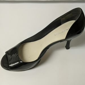 Via Spiga Black Peep Toe Heels